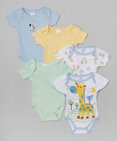 Look what I found on #zulily! Yellow Giraffe Bodysuit Set - Infant by Cudlie #zulilyfinds