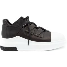 Cinzia Araia two-tone sneakers ($795) ❤ liked on Polyvore featuring shoes, sneakers, black, leather footwear, black trainers, two tone shoes, two tone leather shoes and leather trainers