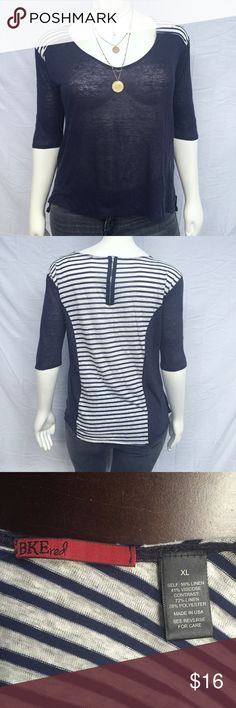 BKE Nautical Top This nautical-inspired top features a striped and zippered back. Semi-sheer. Elbow sleeves. In perfect preowned condition with no damage or wear. Smoke and pet free home. BKE Tops
