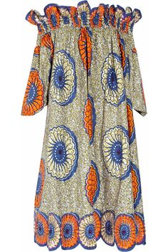 Shop for Easton Pearson Sea Urchin printed cotton dress at ShopStyle. Long African Dresses, Latest African Fashion Dresses, African Print Dresses, African Print Fashion, African Attire, African Wear, Ankara Dress, Ankara Gowns, African Traditional Dresses