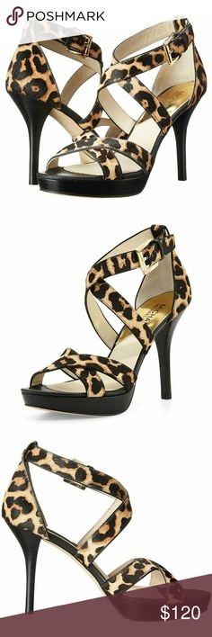New! MICHAEL KORS calf-hair Leopard Heels Sandals Boasting a ferociously fashionable design and a chic silhouette, the Evie Platform is a must-have for the season. Pair this sandal with all of your favorite ensembles to complete your look with standout style.   Dyed fur: calf hair; Trim: Leather Crisscross toe straps Signature logo detailing at buckle and heel counter Open-toe silhouette Adjustable ankle wrap strap with buckle closure Leather lining and footbed Wrapped platform and heel…