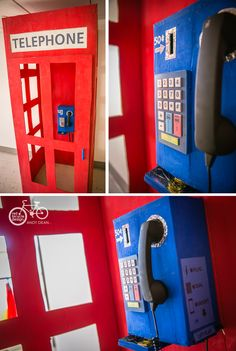 Made from a cardboard fridge box, this telephone booth has an actual working phone in it (with a cell phone that is), just plug the headset into your cell Superhero Birthday Party, 4th Birthday Parties, Superman Party, Birthday Kids, Birthday Cake, Hero Central Vbs, Whatsapp Pink, Cultures Du Monde, Birthday Packages