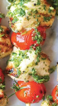(use in paleo bowls) Chicken Pesto Kabobs. A fun, healthy version of the classic chicken recipe. All clean eating ingredients are used in this recipe for make these as a fun appetizer for your next party. Clean Recipes, Paleo Recipes, Cooking Recipes, Free Recipes, Healthy Grilled Chicken Recipes, Clean Meals, Candida Recipes, Cooking Corn, Kabob Recipes