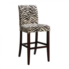 Powell Classic Seating White and Onyx Tiger Striped Slipcover For Counter/Bar Stool - 742-228Z