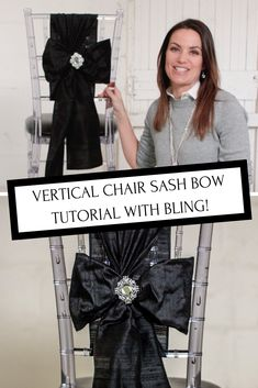 Put a modern twist on your chair bows and make them vertical with the help of our diy wedding tutorial. Put a modern twist on your chair bows and make them vertical with the help of our diy wedding tutorial. Diamond Wedding Theme, Bling Wedding, Diy Wedding, Wedding Ideas, Wedding Themes, Wedding Colors, Wedding Stuff, Wedding Planning, Wedding Reception Decorations