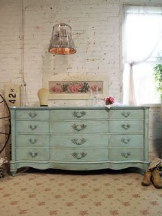 Painted Cottage Chic Shabby Aqua French Dresser DR376. $695.00, via Etsy.