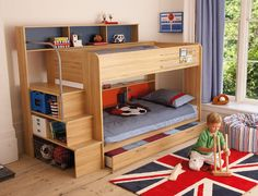 Boys Room with Bunk Beds - For more Awesome Bunk Bed Ideas take a look at HomeIZY.com!