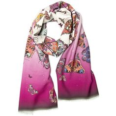 Helen Ruth - Migration Scarf ($255) ❤ liked on Polyvore featuring accessories, scarves, butterfly scarves, long scarves, butterfly shawl, oblong scarves and long shawl