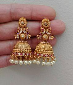 On sale - Jhumka earrings Gold Jhumka Earrings, Jewelry Design Earrings, Gold Earrings Designs, Gold Jewellery Design, Etsy Earrings, Beaded Jewelry, Gold Wedding Jewelry, Gold Jewelry Simple, Gold Ring Designs