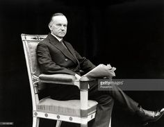 United States President Calvin Coolidge, circa 1925. As Vice-President he succeeded to the presidency on the sudden death of Warren G Harding and was then elected in his own right in 1924. He gained a reputation as a small-government conservative and also as a man who said very little. In fact, his nickname was 'Silent Cal'. He restored public confidence in the White House after the scandals of his predecessor's administration and left office with considerable popularity. This image is from…