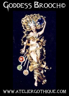 Goddess Brooch©  - Gothic Alternative Custom Fine Jewelry Gold Natural Gems Stones Color