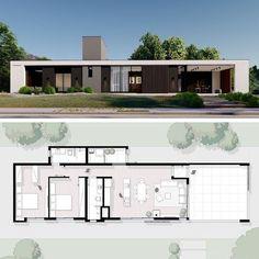 Modern Bungalow House, Bungalow House Plans, Modern House Plans, Small House Plans, Minimal House Design, Modern Villa Design, Modern Architecture House, Architecture Plan, House Construction Plan