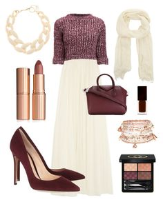 """""""Bright and Burgundy"""" by meenzies on Polyvore featuring Needle & Thread, Girls On Film, Gianvito Rossi, Givenchy, Theory, Charlotte Tilbury, DIANA BROUSSARD, Accessorize, Serge Lutens Beauté and Gucci"""