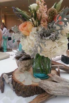 Driftwood, Beach Glass, and Flowers
