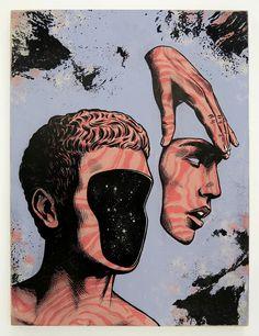 Image of Andrew Fairclough Autoscopy Original painting 2017 Art Sketches, Art Drawings, Arte Obscura, Beauty Illustration, Hippie Art, Psychedelic Art, Surreal Art, Art Plastique, Aesthetic Art