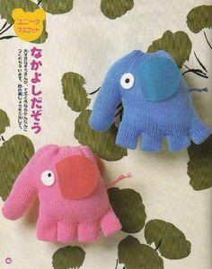 elefanti da vecchi guanti