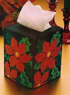 MIDNIGHT-POINSETTIAS-TISSUE-BOX-COVER-PLASTIC-CANVAS-PATTERN-INSTRUCTIONS