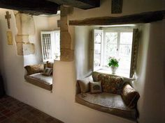 Pair of window seats in English cottage in Lincolnshire