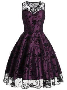 Homecoming Floral Tulle Tea Length Sleeveless Vintage Dress - PURPLISH RED M