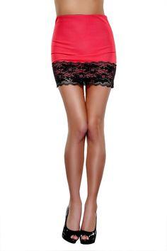 Damen Minirock Stretchrock HÜFTROCK Rock mit Spitze 36,38,40 Weiß, Rot