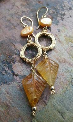 Sale Golden Citrine Earrings 14k Gold by ThePurpleLilyDesigns, $56.00