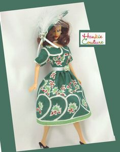 """A Feather Hat!  A vintage hankie makes a dress to fit 11.5"""" Barbie, the custom…"""