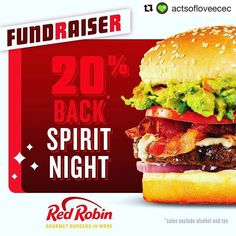 #Repost @actsofloveecec with @get_repost  Tonight is the big night! Join us at Red Robin in Cedar Park. Mention Acts of Love at check and 20% of sales will be donated back to our center. Also Katie may or may not be in full cheeseburger attire!