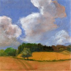Clouds and Golden Fields - 8x8 ART Print of Original Landscape Painting Wheat Fields and Blue Sky Summer