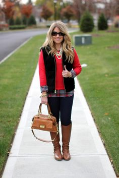 Weekend layers: #plaid, red #sweater, #vest