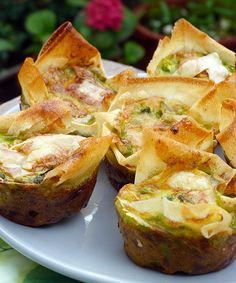 Wild garlic filo pies - including peas and fontina, yummy.