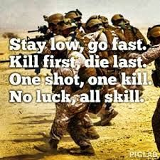 """Stay low, go fast. Kill first, die last. One shot, one kill. No luck, all skill."""