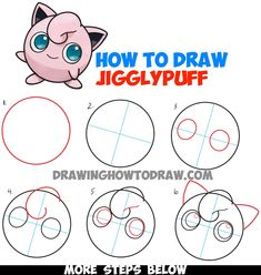 How to Draw Jigglypuff from Pokemon – Easy Step by Step Drawing Tutorial – How to Draw Step by Step Drawing Tutorials Easy Pokemon Drawings, Cute Easy Drawings, Kawaii Drawings, Doodle Drawings, Disney Drawings, Hipster Drawings, Pencil Drawings, Drawing Disney, Pokemon Jigglypuff