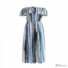 multi-colour stripe print off the shoulder jumpsuit front