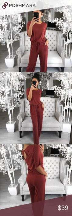 """🆕MELVILLE Clay Jumpsuit ➖ NOTES ➖ Simplistic & causal. You can't go wrong with this jumpsuit. Pair this with your favorite sunnies!   ➖ FEATURES ➖ Short cuffed sleeves, elastic waist band, side pockets, button key hole back & statement ties   ➖ DETAILS ➖ Modeling: Small  Measures: 16""""chest 58""""length 12""""rise 29""""inseam  Material: Rayon & Spandex   ➖ TO BUY 🛒 ➖ 👉🏼Use the """"Buy Now"""" or """"Add to Bundle"""" button ekAttire Pants Jumpsuits & Rompers"""