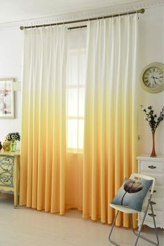 X Gradient Curtain Window Curtain Bathroom Curtains French Curtain Semi Blackout Curtai Yellow Curtains Living Room, Living Room Decor Colors, Yellow Bedroom Decor, Home Room Design, Yellow Curtains, Yellow Girls Bedroom, Yellow Curtains Bedroom, Master Bedrooms Decor, Yellow Living Room