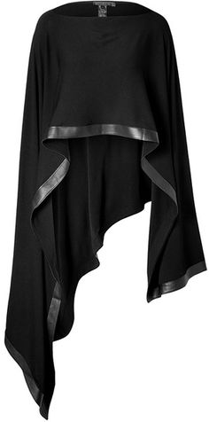 Donna Karan New York Poncho with Leather Trim in Black