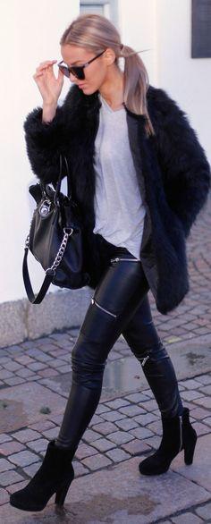 Black Leather Zip Detail Pants