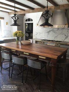 Brass Fixtures Reclaimed Wood Table Top