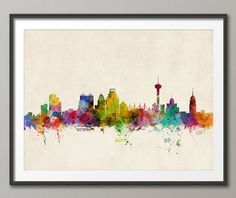 San Antonio Texas Skyline Art Print  12x16 up to 24x36 by artPause, £12.99