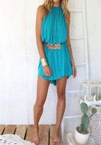 Blue Plain Belt Condole Belt Round Neck Sleeveless Mini Dress