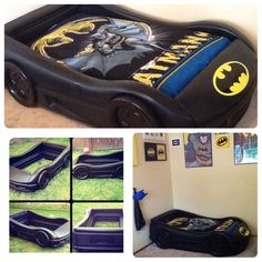 We turned a Little tykes blue race car bed into the Bat mobile… Big Boy Bedrooms, Kids Bedroom, Race Car Bed, Batman Bedroom, Batman Car, Superhero Room, Batmobile, Boy Room, Baby Car Seats
