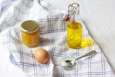 Honig, Ei, Olivenöl und Kokosfett für Honig-Haarmaske