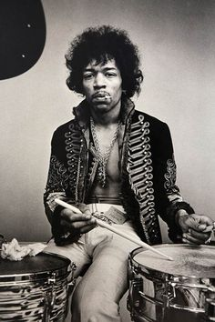 Jimi Hendrix. Monterey Pop 1967. Wearing his legendary royal hussars jacket.