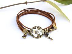 Bracelet ethnique en cuir pour femme bracelet cabochon