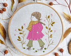 Hand Embroidery, Autumn Leaves - Girl in a pink coat - Embroidery kit, Wall Art, Embroidery Hoop Art, Embroidery design