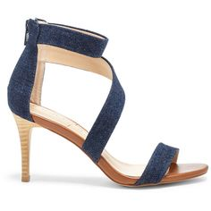 Sole Society Juliette Asymmetrical Sandal ($70) ❤ liked on Polyvore featuring shoes, sandals, dark blue denim, sole society shoes, dark blue shoes, high heel stilettos, summer sandals and stilettos shoes