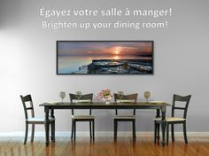 Voici un exemple utilisant une de mes photographies pour décorer une cuisine: rives du Saint-Laurent photographiée à Neuville à marée basse