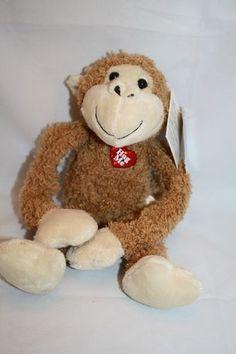 "Dan Dee Monkey Hug Me Tan Plush Swinging Sam 10"" Heart Valentines NEW Stuffed"