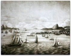 Vista da cidade de São Sebastião do Rio de Janeiro - tirada da Ilha das Cobras - Karl Albert Planitz , c. 1857