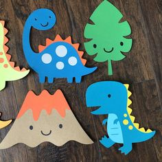 Dinosaur Diecut Party Decor Set Of 6 Set of Dino diecut measures approximately high. These diecuts are a cute addition to any party or babyshower! So many different ways to use these diecuts. Elmo Party, Mickey Party, Luau Party, Invitation Mickey Mouse, Die Dinos Baby, Mickey Mouse Centerpiece, Dinosaur Cards, Dinosaur Dinosaur, Art Drawings For Kids